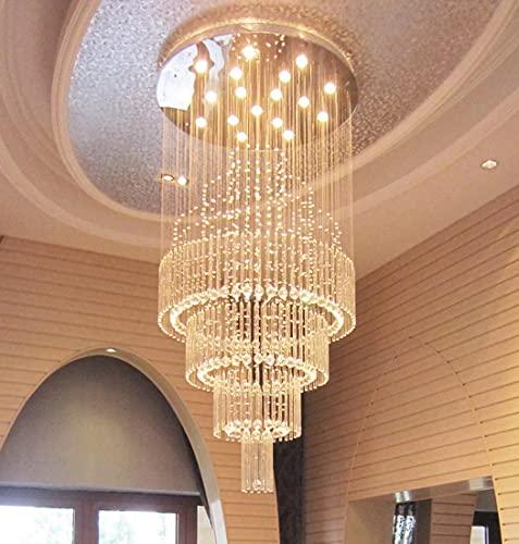 Candelabro de cristal K9 redondo de alta gama, hermoso y elegante para techos altos, adecuado para salas de estar con escaleras de techos altos P 31.5 'x H 70.8'
