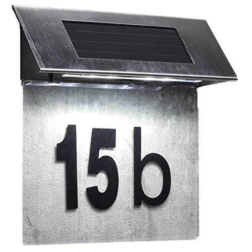 SIDCO Solar Hausnummer Hausnummernleuchte mit LED beleuchtet Beleuchtung Edelstahl
