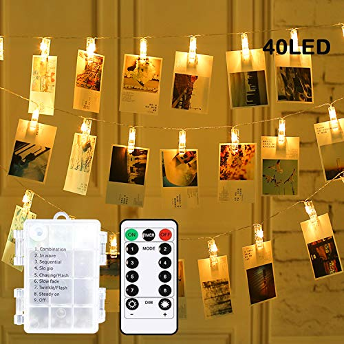 40 LED Photo Clip String Lights, 8 Modes Waterproof 6M Photo Peg Fairy Light Battery Powered with 40 Clips Indoor Hanging String Photo Display for Bedroom Party Wedding Decorations [Energy Class A+++]