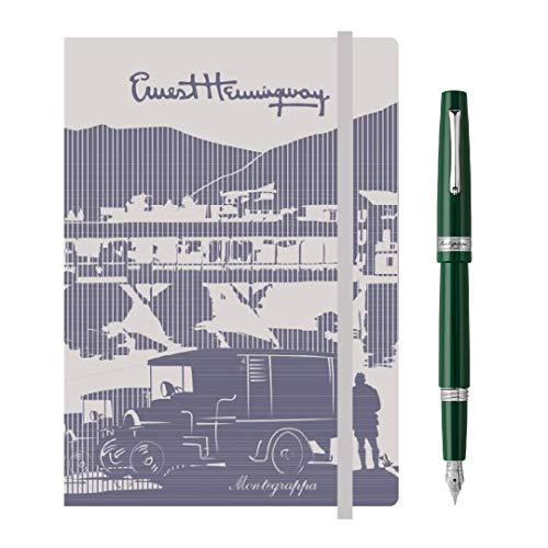 Kit scrittura Penna + Notebook MONTEGRAPPA Armonia Stilografica, British Racing Green, punta Media + notebook Hemingway con elastico