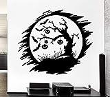 zqyjhkou Sticker Mural Nuit Sombre Citrouille Arbre Vinyle Applique, Vacances Wall Sticker Home Decor 66x57cm