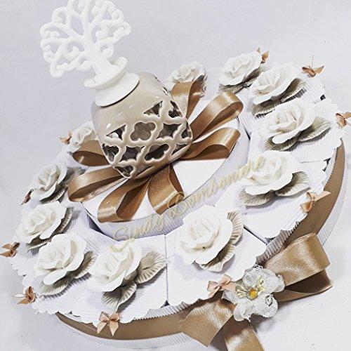 Bomboniere solidali Porcellana confezionati a Forma di Torta (Torta da 28 fette)