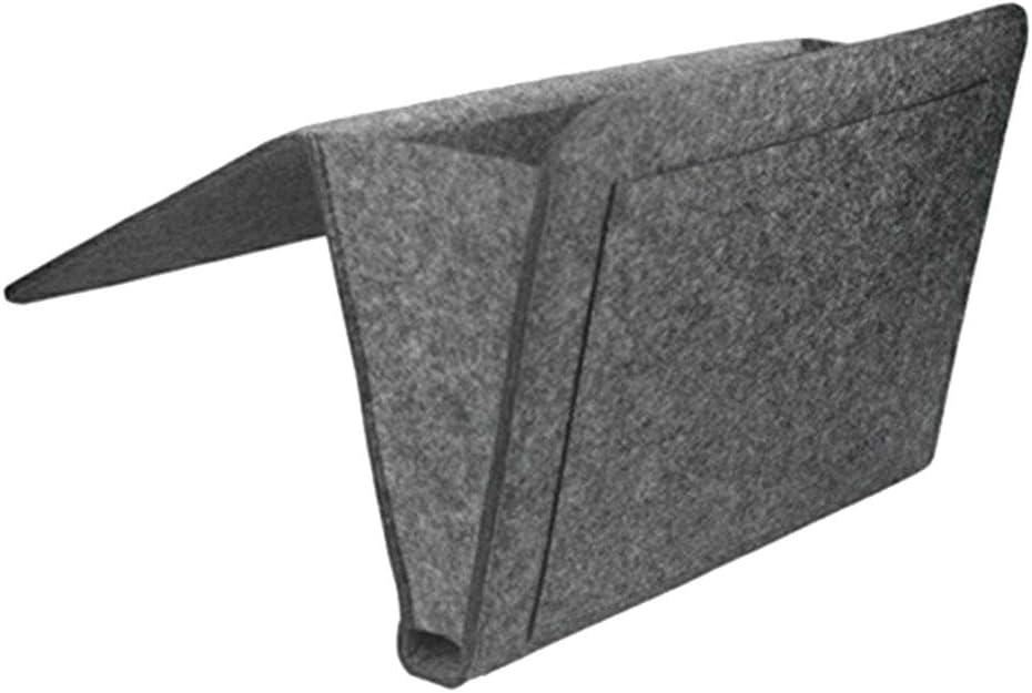 topxingch Bedside Caddy Storage Pocket Organizer for Bedroom Sofa Under Mattress Holder Bag Books Laptop Tablet Remotes Dark Gray
