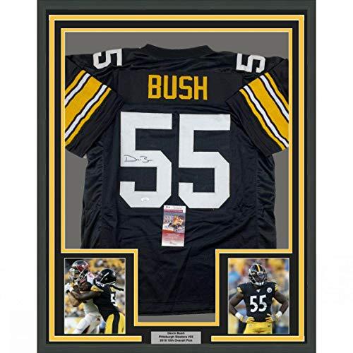 Framed Autographed/Signed Devin Bush 33x42 Pittsburgh Retro Black Football Jersey JSA COA