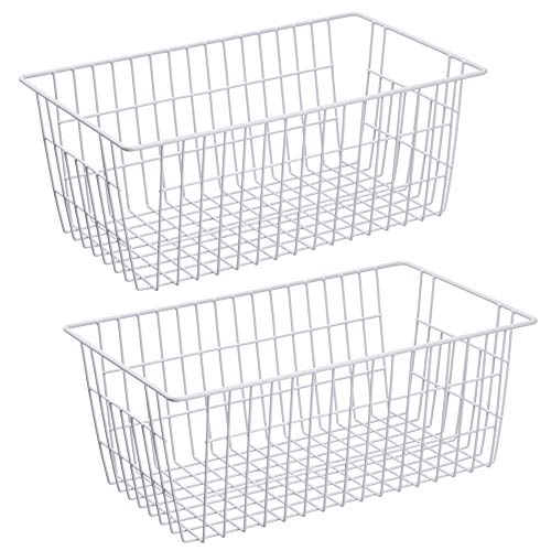 SANNO Farmhouse Organizer Storage Bins Large Organizer Bins for Storage, Office, Bathroom, Pantry Organization Storage Bins Rack with Handles-Set of 2