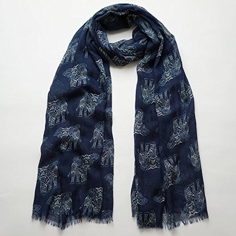 DIDIDD Cotton Scarf Navy bluee Print Scarf Female Age Long Thin Silk Scarf