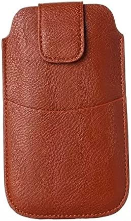 Faux Leather Belt Clip Holster Pouch Cellphone Sleeve Armband Case for Samsung Galaxy S9 Active/iPhone Xs Max/iPhone XR/Motorola One Power/Huawei Mate SE/Mate 20 Lite/Sony Xepria XZ3 (Brown)
