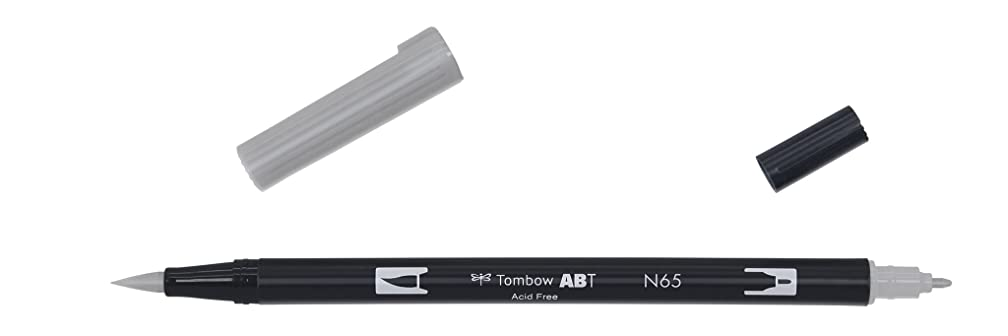 Tombow Dual brush-n65?–?Double Tip Brush Marker, Grey
