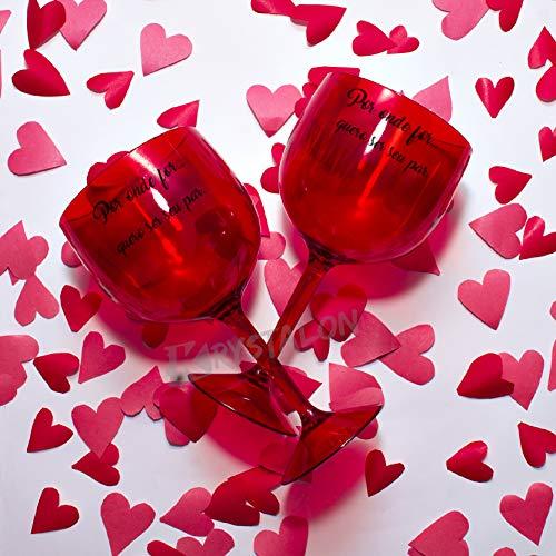Kit 2 Taças Gin Vermelhas Personalizadas Dia Dos Namorados