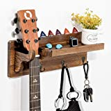 AerWo Guitar Wall Hanger Mount, Wood Guitar Holder with Shelf and Pick Holder, Guitar Stand Rack with 3 Hooks, Guitar Wall Mount Bracket for Electric Acoustic Bass, Banjo, Guitar Accessories