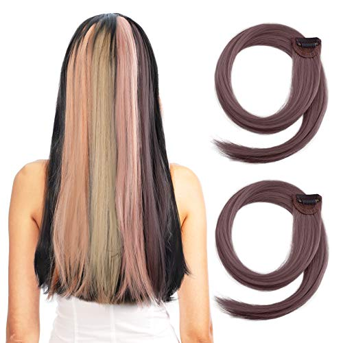 YOGFIT Mauve Purple Colored Clip in Hair Extensions 24' 2PCS Long Colorful Straight Thick Hair Volume Hairpiece