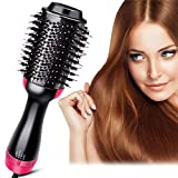 Hot Air Brush, One Step Hair Dryer and Volumizer, 3-in-1 Hair Dryer Brush Styler for Straightening, Curling, Smooth Frizz with Ionic Technology (Black Pink)
