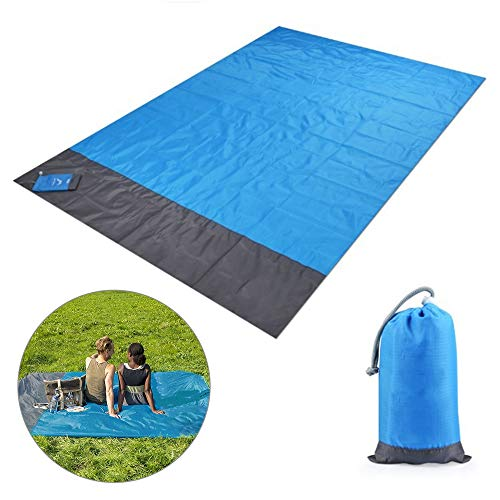 Sandfree - Manta de playa, 82x78 pulgadas, para exteriores, con bolsillo a prueba de arena, impermeable, gran cubierta de tierra para camping con bolsa organizadora y 4 estacas, senderismo, mochilero