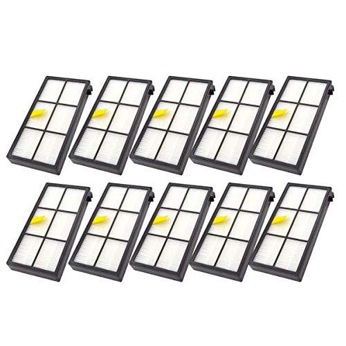 Lot de 10 filtres Hepa de rechange pour iRobot Roomba 800 900 Series 800 805 860 865 866 870 880 885 900 960 966 980 avec filtre et brosse de nettoyage