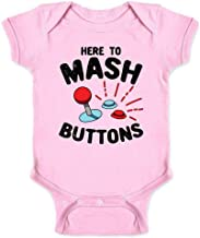 Here to Mash Buttons Gamer Video Games Infant Baby Boy Girl Bodysuit