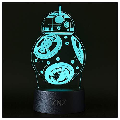 3D Star Wars Lampe, ZNZ LED Illusion Led Nachtlicht, 16 Farben Wechsel 3 Modell mit Remote & Smart Touch Dekor Lampe - Perfekte Weihnachts- Star Wars Fans Geschenke für Kinder Männer Frauen - BB8