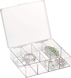 mDesign Plastic Jewellery Box — Lidded Jewellery Organiser with 8 Compartments — Jewellery and Accessories Storage Tray — ...