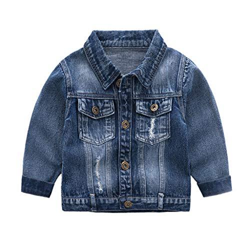 Baby Jungen Jeansjacke Kinder Weste Denim Jacke Mantel Frühlings Weiche Langarm Kinder Jeansbekleidung Blau 12-24 Monate