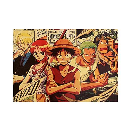 Sweet&rro17 Póster de Anime de One Piece, retro, papel de estraza Luffy Nami Sanji Zoro Usopp, cuadro de pared, tamaño pequeño, decoración de pared