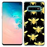 Zonecase for Galaxy S10 Plus Case - Gold Bee Pattern Crystal Clear Transparent Shock Absorption with Full Flexible Protection TPU Gel Case