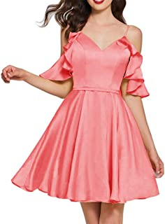 Jonlyc Cold Shoulder A Line V Neck Ruffles Short Homecoming Dresses for Juniors 2019