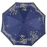 Paraguas Plegables Paraguas de protección Solar Paraguas de plástico Negro Paraguas de Publicidad Paraguas de Tres Pliegues automático