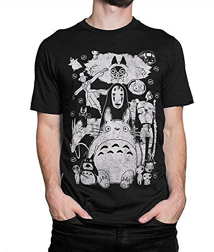 TRK Studio Ghibli Movies Vintage T-Shirt, Totoro Spirited Away Mononoke Miyazaki tee KMYTEW