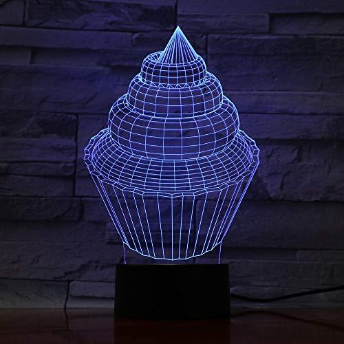Diseño de arte único Visión 3D Lámpara de mesa LED Luz nocturna Lámpara de mesa que cambia de color Luz nocturna Bombilla de ilusión Iluminación interior Navidad portátil