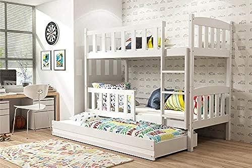 BMS Etagenbett Jonas mit G ebett - WeißGröße Liegefl e 200 x 90cm  , Farbe W = Weiß