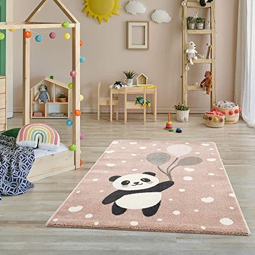 Teppich Kinderzimmer - Teppiche für Kinderzimmer, Kinderteppich, Kinderteppich Mädchen, Bär, Panda, Punkte, Herz, Ballon - Hellrosa – Größe – 160x230 cm