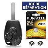 Coque pour Télécommande Clef Plip Renault Clio 3 • Megane • Modus • Kangoo • Twingo • Master • Trafic + Pile CR2016 DURACELL - Kit iRace Keys