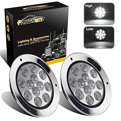 "Partsam 2PCS 12 LED White 4"" Round Backup Reverse Lights Marker w/ Stainless Rings Sealed"