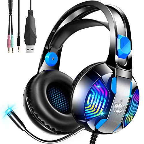 ゲーミングヘッドセット ps4 ヘッドセット ps5 ゲーミングヘッドホン 有線 ヘッドホン 重低音 高音質 ヘッドフォン マイク付き 3.5mm端子 騒音抑制 軽量 伸縮可能 男女兼用SWITCH PCに対応 (ブルー)