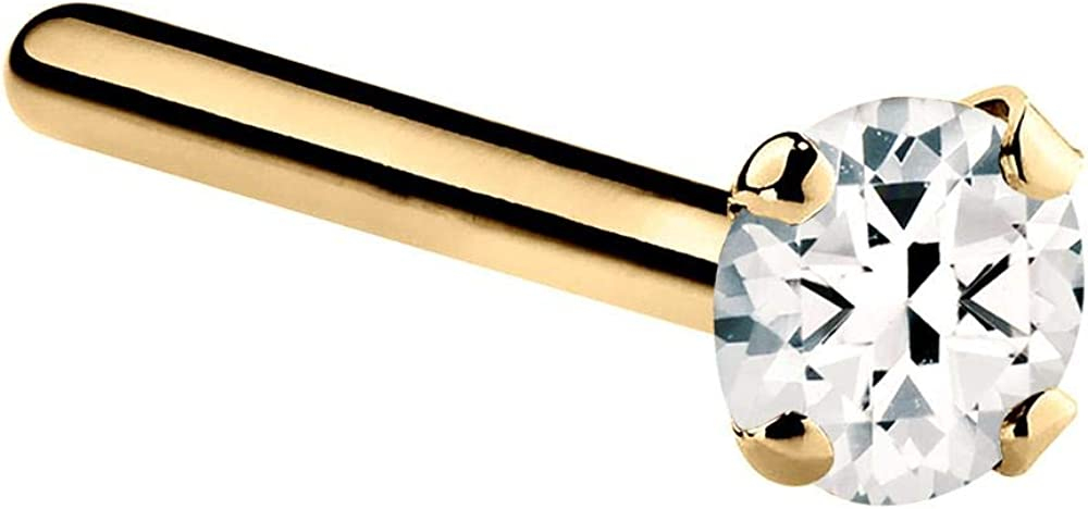 FreshTrends 14K Gold Limited price Max 43% OFF Platinum Genuine Nose Ring Topaz White