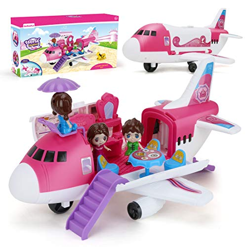 Airplane Toys Transport Cargo Play Set, Take Apart Plane Car Toys with Beauty Dresser Table and Stickers Pink Princess Educational Aircraft Game Toys for Kids Girls Gift for 3 4 5 6 Years Old