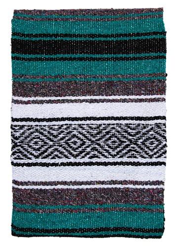 El Paso Designs Mexican Yoga Blanket | Colorful Falsa Serape | Park Blanket, Yoga Towel, Picnic, Beach Blanket, Patio Blanket, Soft Woven Saddle Blanket, Boho Home Décor (Esmeralda)