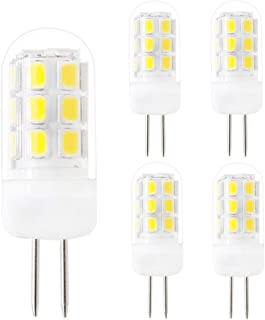 Dimmable G4 LED Bulbs, G4 Bi-Pin Base Bulbs, AC 120V G4 3.5W White 6000K 320Lumen, Replace 35W G4 Halogen, for Under-Cabinet Lights, Ceiling Lights, Table Lights, Puck Lights(Pack of 5)