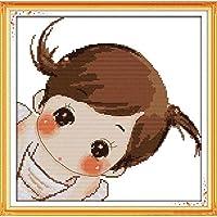 刻印されたクロスステッチキット-かわいい女の子-11CTプリント刺繍、パターンニードルポイントスターターキット、大人の初心者と子供向け、家の装飾とギフト用40x50インチ