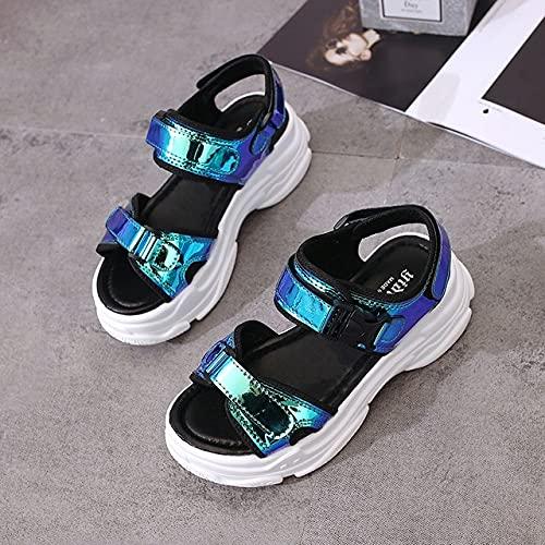 Sandalias deportivas sexis con punta abierta para mujer, sandalias con cuña ahuecadas para mujer, zapatos de plataforma frescos al aire libre, zapatos de playa para mujer, zapatos de verano 2021 nuevo