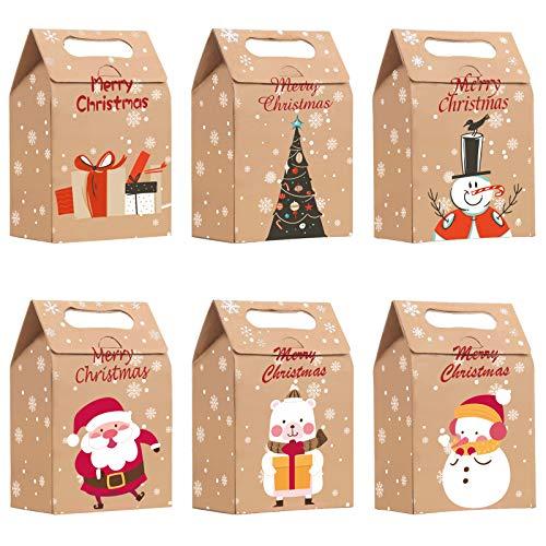 VDSOW Sacchetti regalo 24 pezzi, sacchetti regalo natalizi in carta kraft marrone multipack, sacchetti regalo piccoli natalizi Scatole da imballaggio per conservare caramelle cracker regalo