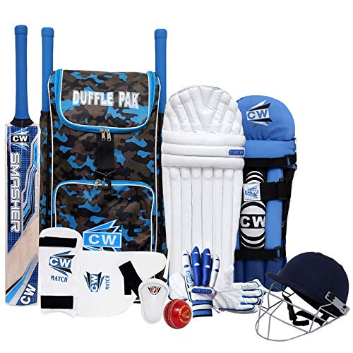 CW Tournament Complete Cricket Set Junior Sports Set Kashmir Willow Cricket Set with Bat Premium Quality Batting Set Right Hand Youth Adult Left Hand Kit (Full Size for 14+ & Up Years, Right Hand)