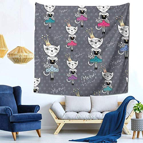 Lsjuee Fashion Royal Cat Girly Tapestry Wall Hanging Home Decor Fan Art per Camera da letto Soggiorno Dormitorio