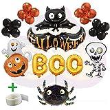 WLZP Halloween Party Luftballons, 12 Pack Halloween Party Dekorationen einschließlich Boo Banner Folie Brief Ballon für Party Supplies, Schwarze Fledermaus, Schwarze Spinne für Halloween Trick