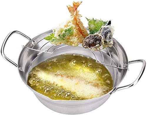 Roestvrijstalen Tempura friteuse pot in Japanse stijl voor het frituren van potten met afdruiprek, keukengerei
