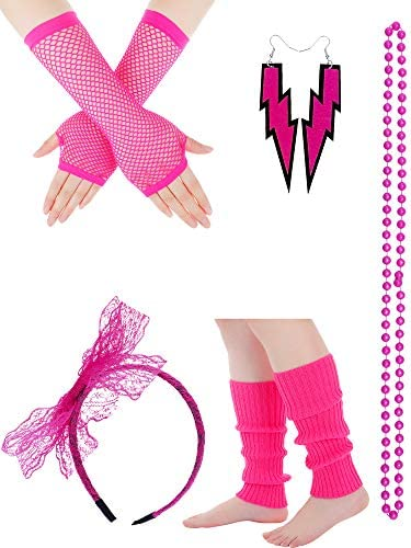 Women 80s Costume Accessories Set Includes Lace Headband Neon Earrings Necklace Fishnet Gloves product image