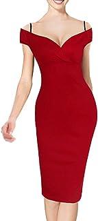 – Vestido ceñido de mujer con estampado floral vintage, con tirantes, hombros descubiertos, largo hasta la rodilla, B309