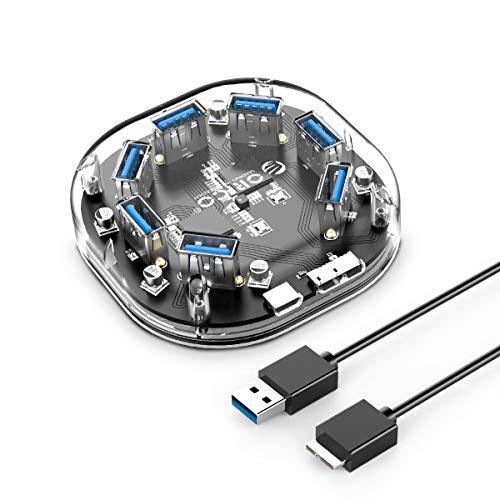ORICO USB3.0 ハブ 7ポート 透明なボディー USB3.0の転送速度 5Gbpsまで 軽量 電源ポート付き、追加電源可能 H7U