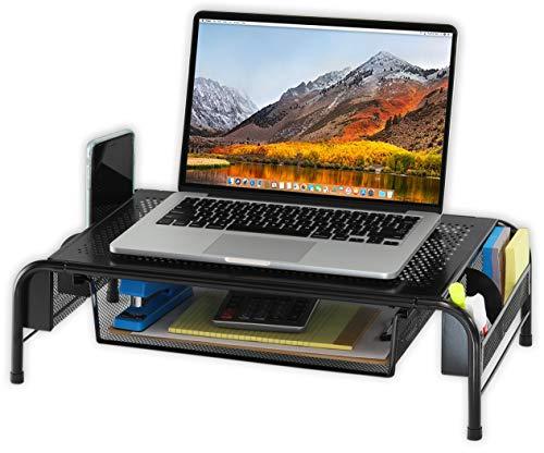 SimpleHouseware Metal Desk Monitor Stand Riser with Organizer Drawer Photo #4