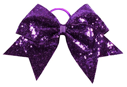 HipGirl Boutique Teens Women 6' Jumbo Large Cheer Bow Elastic Hair Tie Ponytail Holder for High School College Cheerleading (2pc 7' Sequin Sparkle Cheer Bows-Purple Hair Bows)