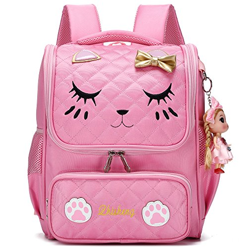 Cute Backpacks for Girls Primary Elementary School Animal Cat Face Kids Bookbags (Pink-Small)